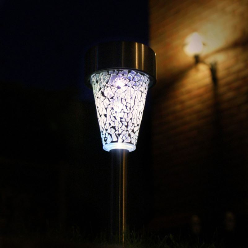 Set Of 2 Solar Light Modern Outdoor Led Solar Mosaic Post