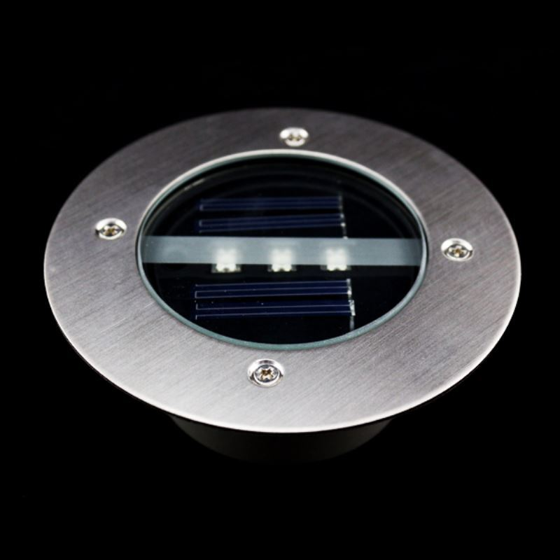 Solar Power Led Light Round Recessed Deck Dock Pathway