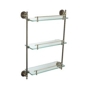 Oil Rubbed Bronze Antique Finish 3-tier Shelf with Satin Glass