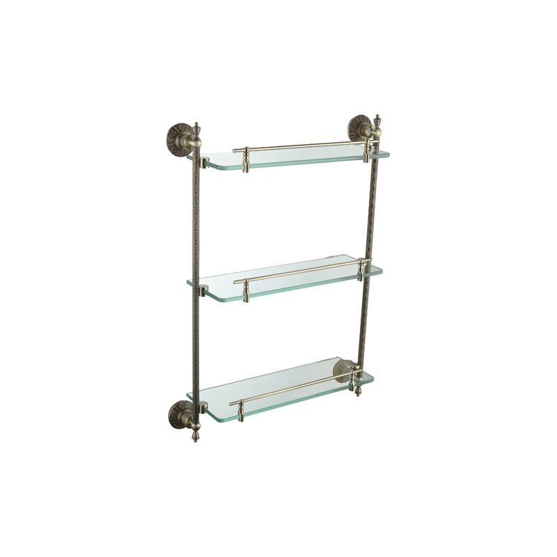 Oil Rubbed Bronze Antique Finish 3 Tier Shelf With Satin Glass