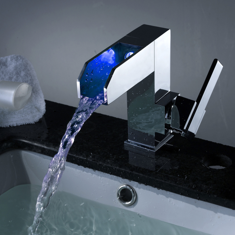 Contemporary Color Changing Led Waterfall Bathroom Sink