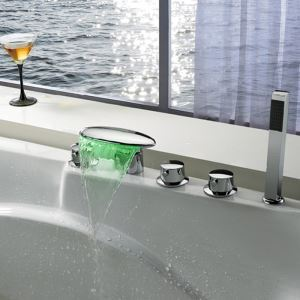 Color Changing Deck Mount Oval LED Waterfall Brass Bathtub Mixer Tap With Hand Shower