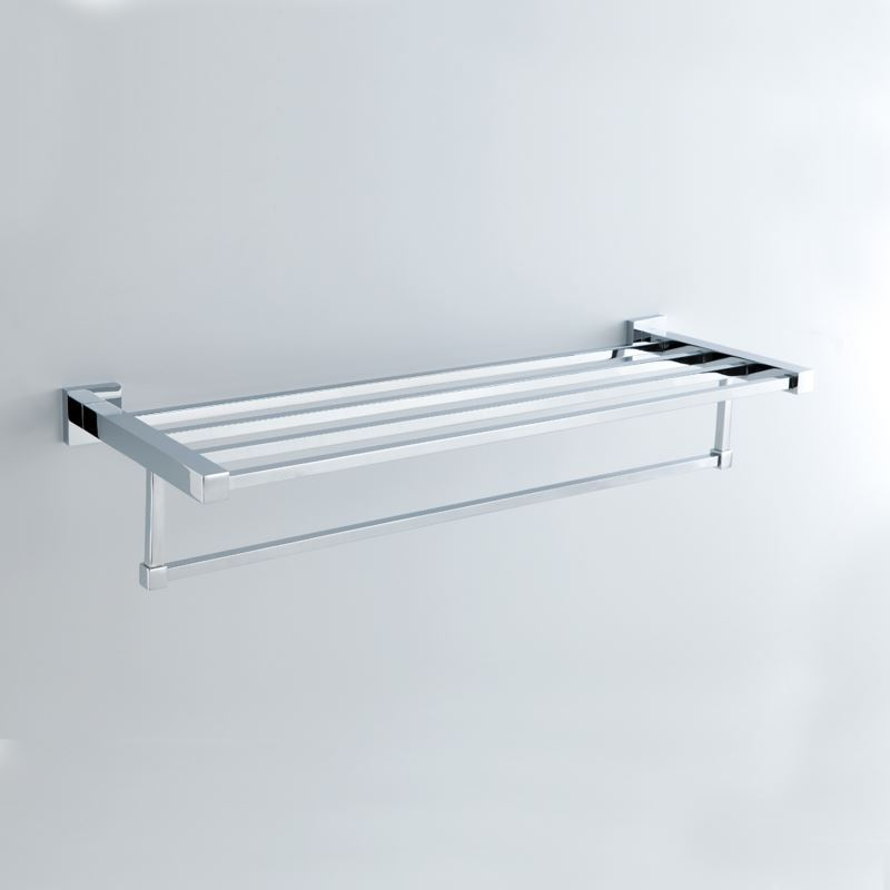Modern Contemporary Towel Rack Chrome Finish Silver Double