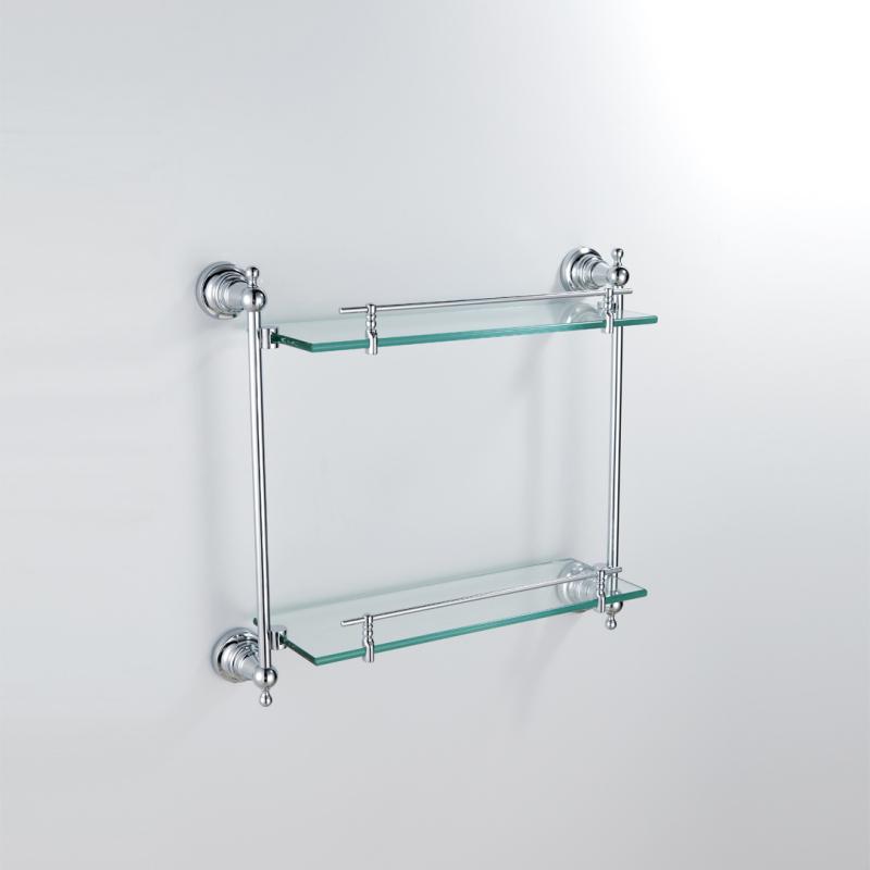 Bathroom Bath Shelves Modern Contemporary Chrome Finish Silver Double Layer Shelf Br Wall Mounted Gl With Rail