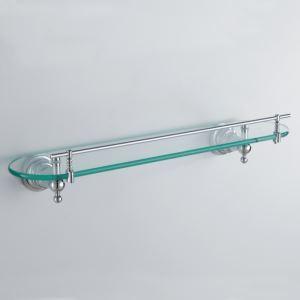 Modern Contemporary Chrome Finish Silver Single-layer Bath Shelf Brass Wall Mounted Glass shelf with rail