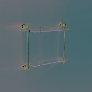 Contemporary Ti-PVD Finish Golden Double-layer Bath Shelf Brass Wall Mounted Glass shelf with rail