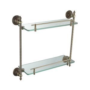 Antique Bronze Double-layer Bath Shelf Brass Wall Mounted Glass shelf with rail