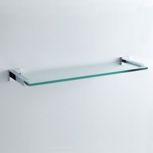 Modern Contemporary Chrome Finish Silver Single-layer Bath Shelf Brass Wall Mounted Glass shelf