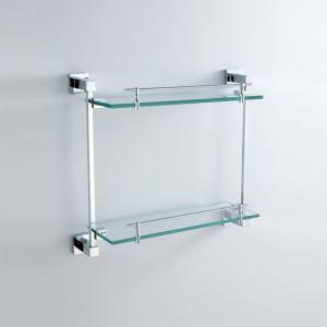 Modern Contemporary Chrome Finish Silver Double-layer Bath Shelf Brass Wall Mounted Glass shelf with rail