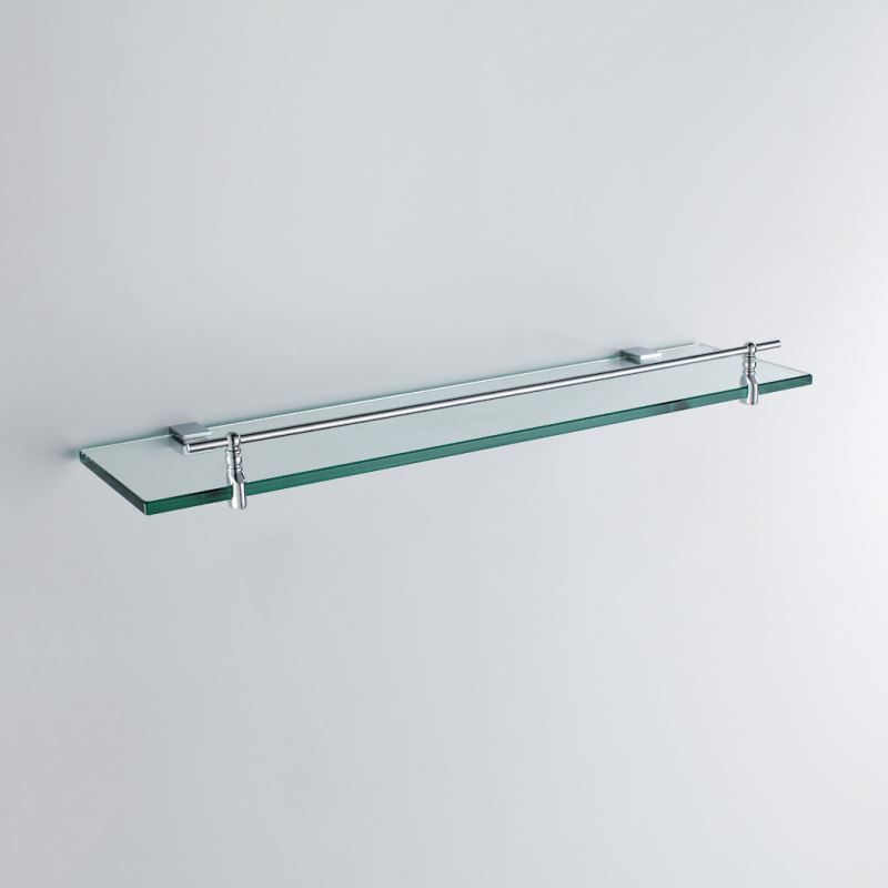 Glass Bathroom Shelf Modern Chrome Finish Silver Single