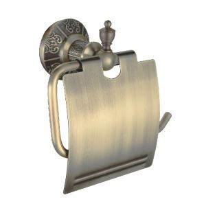 Antique Bronze Toilet Paper Rack with Cover Wall Mounted Brass Toilet Paper Holder