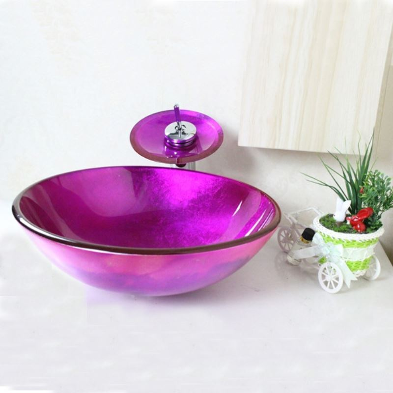 Victory Round Purple Tempered Glass Vessel Sink With
