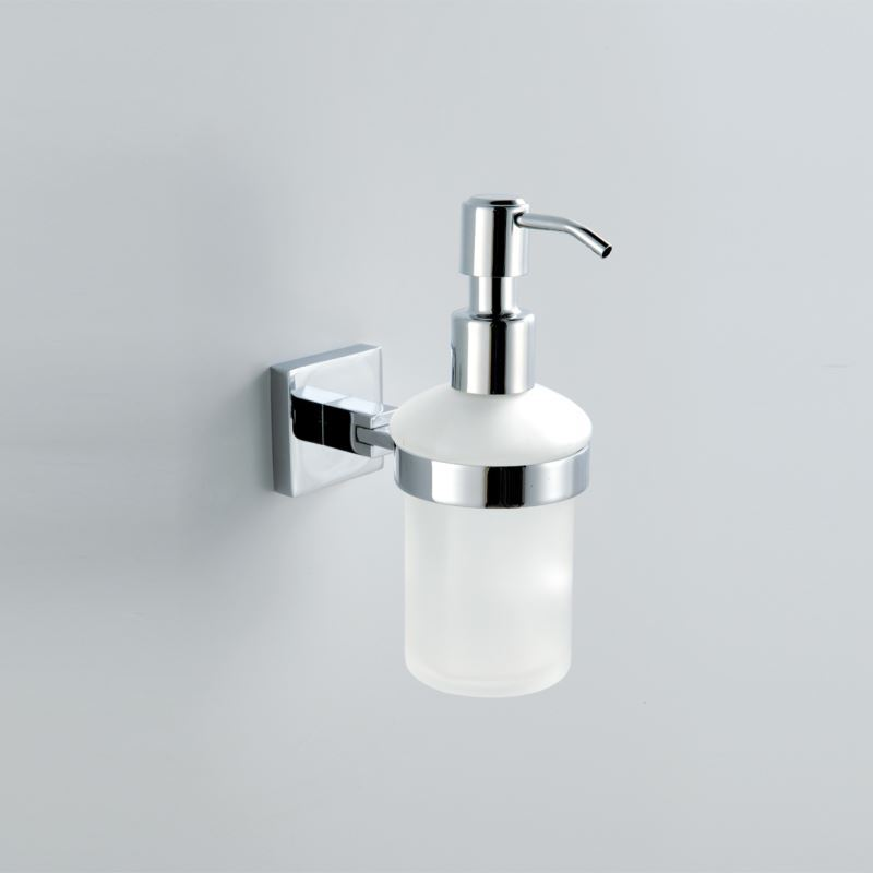 Wall Mounted Glass Soap Dispenser And Holder Chrome Finish