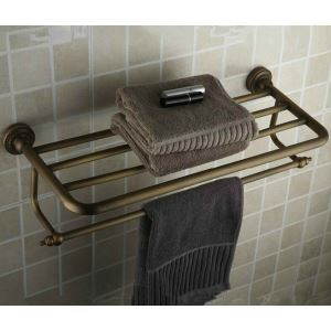 Bathroom Shelf With Towel Bar Antique Brass 24 Inch