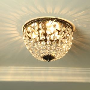 American Country Style Iron & Crystal Antique Flush Mount Ceiling Light