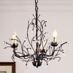 American Country Style Iron +Crystal Paint Light Black/Antique Chandelier without Lampshade(adjustable) Black Chandelier