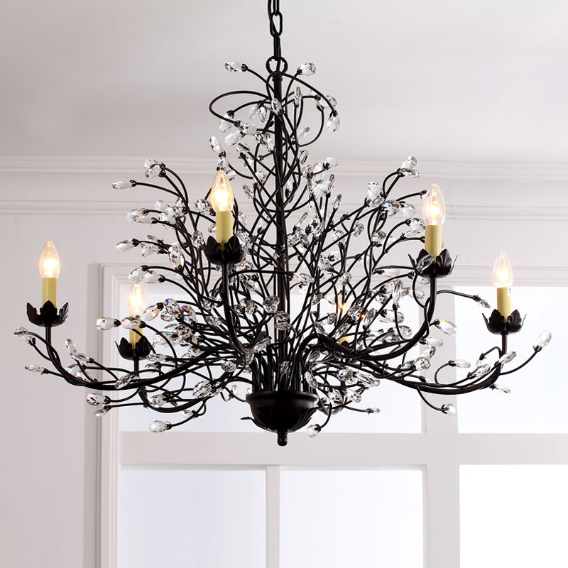 Lighting Ceiling Lights Chandeliers American Country Style Iron Crystal Paint Light Black Antique Chandelier Without Lampshade Adjule