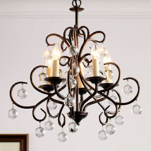 American Country Style Iron Paint Crystal Antique/Light Black Chandelier without Lamp Shade(adjustable)
