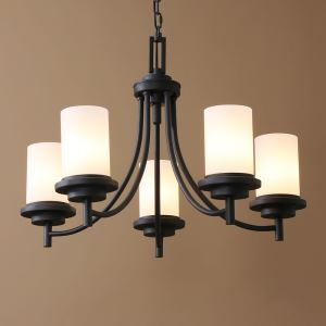 American Country Nordic Style Iron Paint Light Black Glass Chandelier(adjustable) Black Chandelier