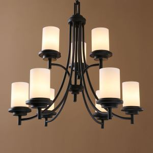 American Country Nordic Iron Paint Light Black Chandelier Glass Chandelier Two Tiers(adjustable)