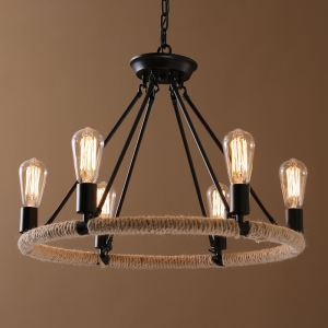 American Country Nordic Style Iron/Rope Paint Light Black Chandelier without Lamp Shade(edison bulb,adjustable) Black Chandelier