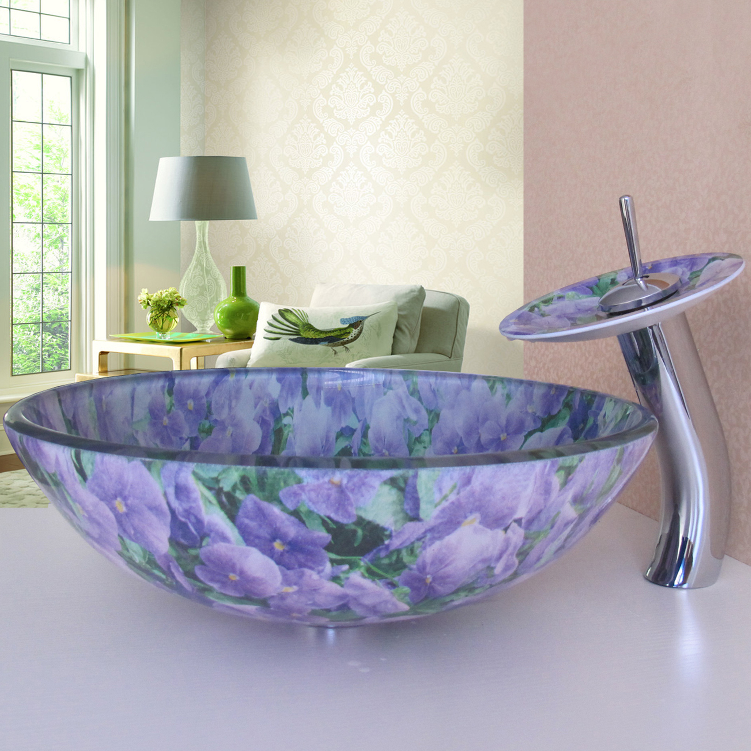 Simple Modern Pastoral Purple Flowers Both Sides And Round