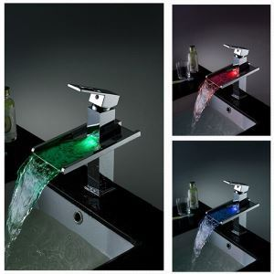 Color Changing Waterfall Bathroom Sink Faucet LED Waterfall Tap
