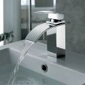 Chrome Finished Waterfall Solid Copper Single Lever Basin Faucet