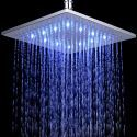 Brass Square Shower Head with Color Changing LED Light 10 inch