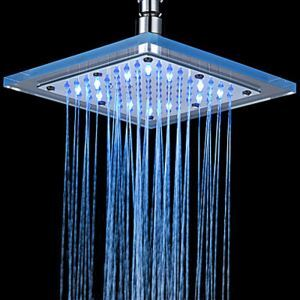 Thermostat LED Shower Faucet Head of 8 inch---Chrome Finish