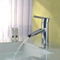 Artistic Perfect Streamlined Glow Vessel Single Handle Brass Bathroom Basin Faucets With Chrome Plated