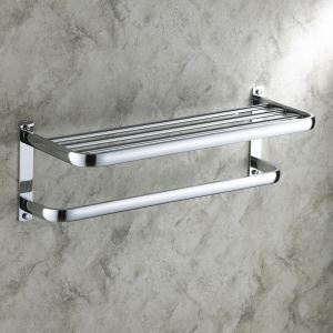 Bathroom Shelf with Towel Bar Modern Towel Rack Contemporary Wall-mounted Chrome Finish