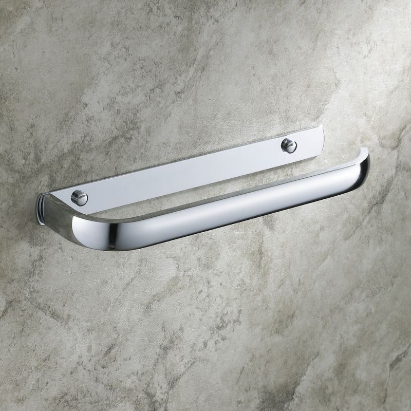 Modern Contemporary Wall Mounted Chrome Finish Towel Bar