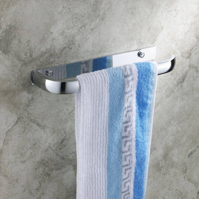 Modern Contemporary Wall Mounted Chrome Finish Towel Bar