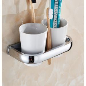 Modern Contemporary Chrome-colored Wall-mounted Brass Toothbrush Holder