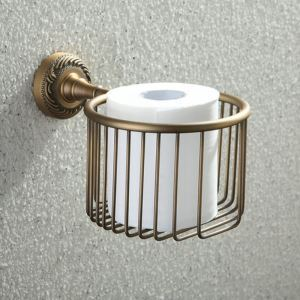 (In Stock) Antique Vintage European Brass Toilet Roll Holder