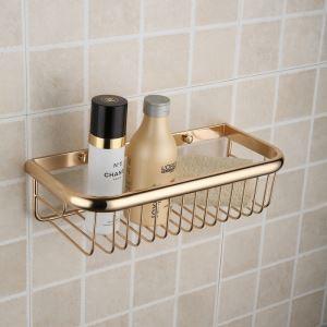 Modern Contemporary Ti-PVD Finish Brass Bath Shelf