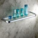 Modern Contemporary Chrome Finish Brass & Glass Bath Shelf
