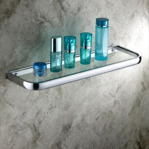 Modern Contemporary Chrome Finish Brass & Glass Bath Shelf