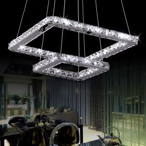 Modern Chic LED Double Square Stainless Steel Crystal Pendant Light Energy Saving