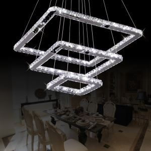 Modern Chic Stainless Steel Plating LED Crystal Pendant Light 3 Lights Energy Saving