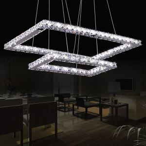 Modern Chic Stainless Steel Plating LED Crystal Pendant Light Energy Saving