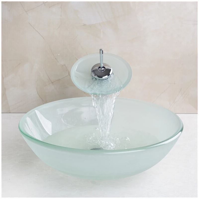 Frosted Round Tempered Glass Vessel Sink With Waterfall