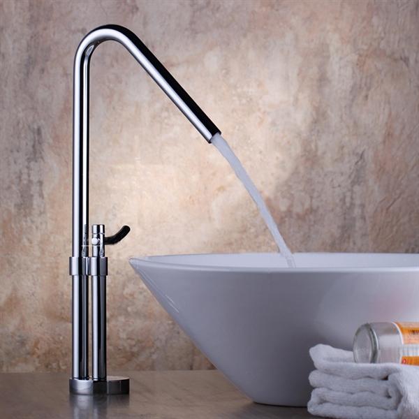 Contemporary Brass Bathroom Sink Faucet Chrome Finish