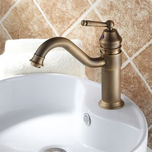 Single Handle Centerset Bathroom Sink Faucet Antique Brass Basin Tap