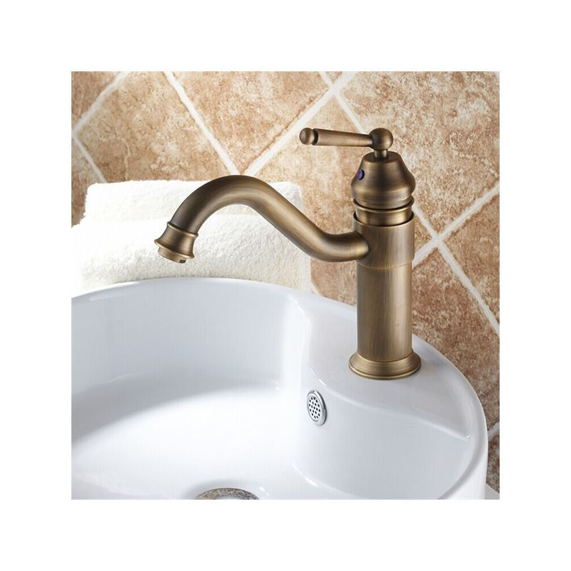 Single Handle Centerset Bathroom Sink Faucet Antique Brass