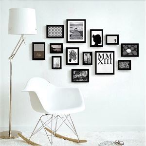Modern Minimalist Wood Photo Wall Frame set Collection-Set of 13(Pictures Not Included)