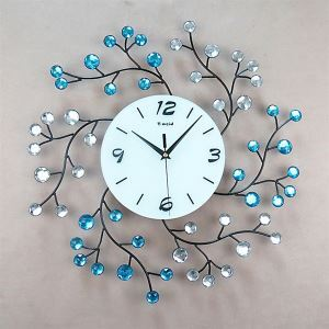Stylish Floral Ground Glass Metal Wall Clock