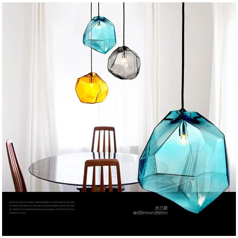 Modern Fashion Colorful Glass Pendant Light With 3 Lights