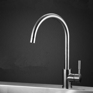 (In Stock) Contemporary Single Handle Brass Kitchen Faucet